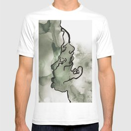 line water color faces T-shirt
