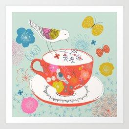 Bird and Teacup Art Print