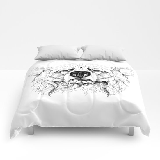 Grizzly Bear (black stroke version for t-shirts) Comforters