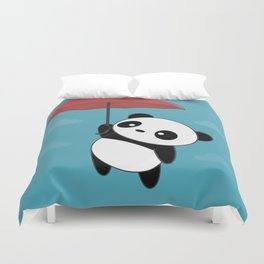 Kawaii Cute Panda With Umbrella Duvet Cover