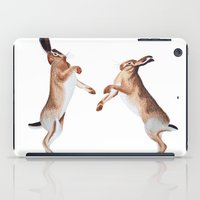 boxing iPad Cases featuring Boxing Hares by ByKellyAttenborough
