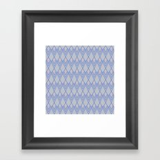 Art Deco Diamond Teardrop - Blue Framed Art Print