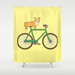 Corgi on a bike Shower Curtain