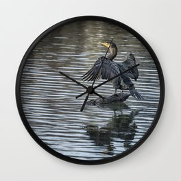 Double-Crested Cormorant Landscape Wall Clock