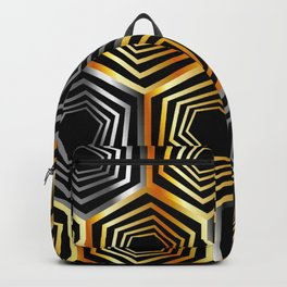 Gold and silver hexagonal composition Backpack