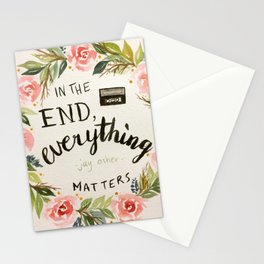 """Wreath quote by Jay Asher, 13 Reasons Why, """"In the end, everything mstters."""" Stationery Cards"""