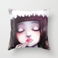 snow Throw Pillows featuring Snow white by Ludovic Jacqz
