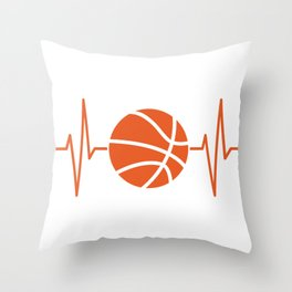 Sports Heartbeat Basketball Heartbeat Basketball Gift Throw Pillow
