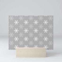 Snowflake Pattern | Winter | Hygge | Scandi | Grey and White | Mini Art Print