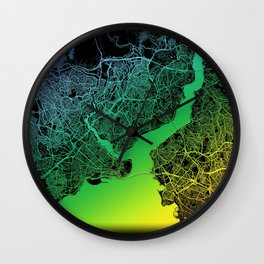 Istanbul, Turkey, City, Map, Rainbow, Map, Art, Print Wall Clock