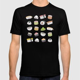 Happy kawaii sushi pattern T-shirt