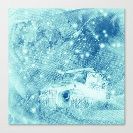 Ghost driver in the moonlight with fireflies and leaves Canvas Print