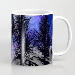 NEBULA STARS MOON BLACK TREES MOUNTAINS VIOLET BLUE Coffee Mug