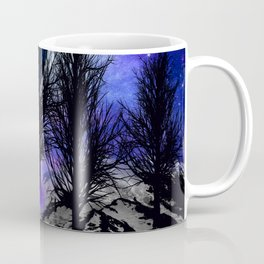 NEBULA STARS MOON BLACK TREES MOUNTAINS VIOLET BLUE Coffee Mug