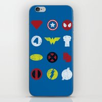 super heroes iPhone & iPod Skins featuring Super Simple Heroes by Resistance