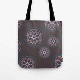 Boho Style Line Mandala Flowers, Pink Blue Purple Hippi Style Tote Bag