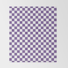 Small Checkered - White and Dark Lavender Violet Throw Blanket