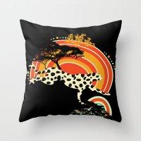 cheetah Throw Pillows featuring Cheetah by Dimitra Tzanos
