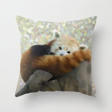 Tired Red Panda Throw Pillow