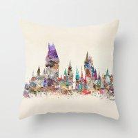 hogwarts Throw Pillows featuring hogwarts school of magic by bri.buckley