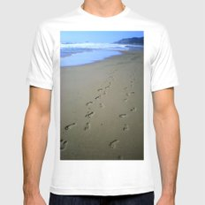 Footsteps in the Sand Mens Fitted Tee MEDIUM White
