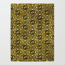 Luxury Oriental Gold on Black Koi Fish Pattern Poster