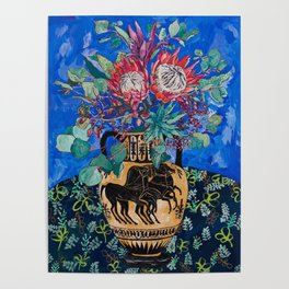 Painterly Bouquet of Proteas in Greek Horse Urn on Blue Poster