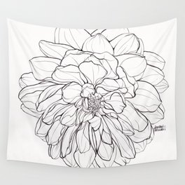 Ink Illustration of a Dahlia Wall Tapestry