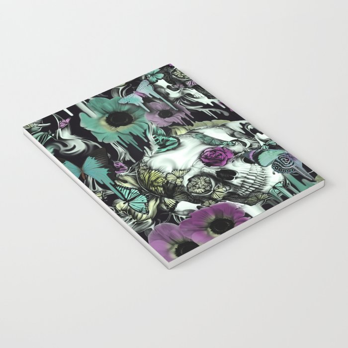 Mrs. Sandman, melting rose skull pattern Notebook