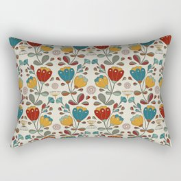 Vintage Ethno Flowers in red, blue and yellow on beige Rectangular Pillow