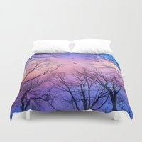 peach Duvet Covers featuring A New Day Will Dawn  (Day Tree Silhouettes) by soaring anchor designs