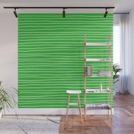 Grass Green Pinstripes Wall Mural