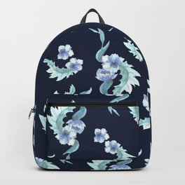 Navy blue flowers Backpack