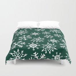 Snowflakes Pattern (Evergreen) Duvet Cover