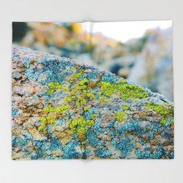 Hyper Lichen on Warm Desert Rock Throw Blanket