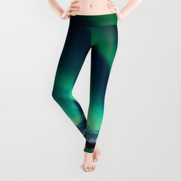 Norway Photography - Green Northern Lights Over Snowy Mountains Leggings