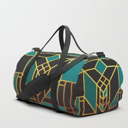 Art Deco Leaving A Puzzle In Turquoise Duffle Bag