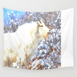 Mountain Goats In the Alpine Wyoming Mountain - Rocky Mountain Goat Wall Tapestry