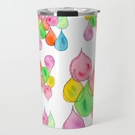 """Crystals"" Watercolor Painting positive illustration colorful nursery kids room rain drops pattern Travel Mug"