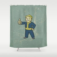 warcraft Shower Curtains featuring Vault Boy - fallout 4 by janeemanoo