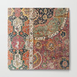 Persian Medallion Rug II // 16th Century Distressed Red Green Blue Flowery Colorful Ornate Pattern Metal Print