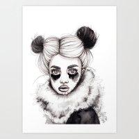 red panda Art Prints featuring Panda by Nora Bisi