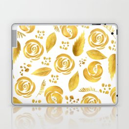 Hand painted faux gold white elegant floral pattern Laptop & iPad Skin