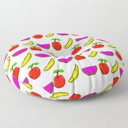 Retro Video Game Fruit Medley Pixel Art Floor Pillow