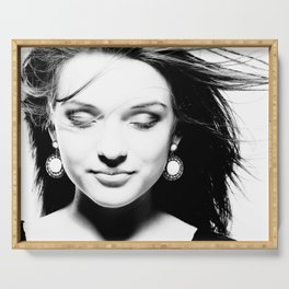 Portrait of a dreamy girl. Serving Tray