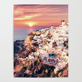 Santorini Sunset View Poster