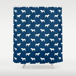 English Bulldog pattern navy and white minimal modern dog art bulldogs silhouette Shower Curtain