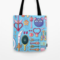 arsenal Tote Bags featuring Magical Arsenal Blue by Paulina Ganucheau