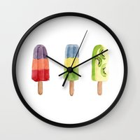 popsicle Wall Clocks featuring Popsicle by Marta Li