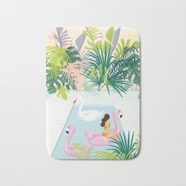 relaxing at resort Bath Mat